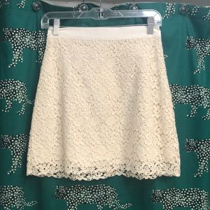 Cream lace miniskirt